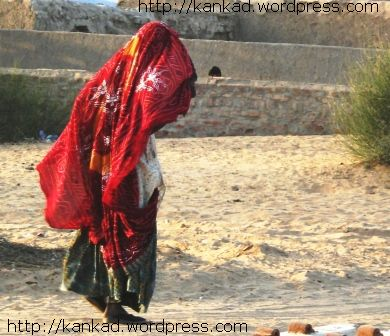 ढलती शाम में कैमरे के सामने से गुजरतीं एक बुजुर्ग राजस्थानी महिला
